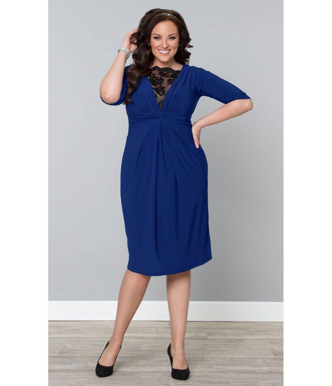 Plus Size Cobalt Blue Lace Signature Cocktail Dress Http