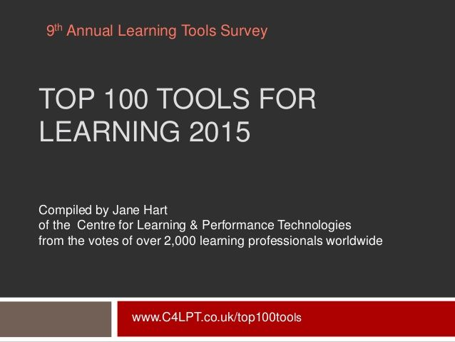 Top 100 Tools For Learning 2015 Learning Centers Resource Classroom Online Learning
