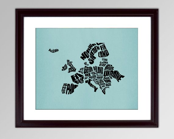 Europe Word Map - A typographic text map of Countries of Europe.  Print or Canvas.  8x10, 11x14, 16x20, 20x30.  Custom Colors
