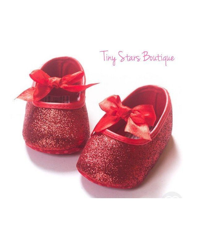 Adorable Baby Girl Red Glitter Shoes Ideal For Valentine S Day