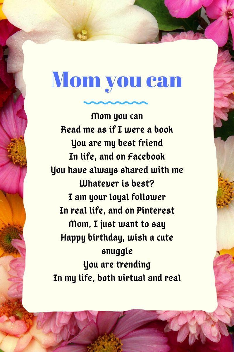 Happy Birthday Poems For Mom Happy Birthday Mom Birthday Poems Mom Poems