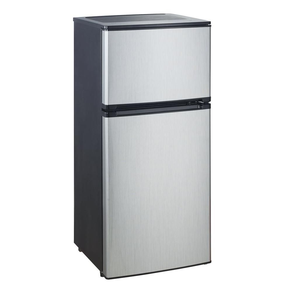 Vissani 4 5 Cu Ft Mini Refrigerator In Stainless Look Energy Star Hvdr450se At The Home Dep Small Refrigerator Glass Refrigerator Outdoor Kitchen Appliances