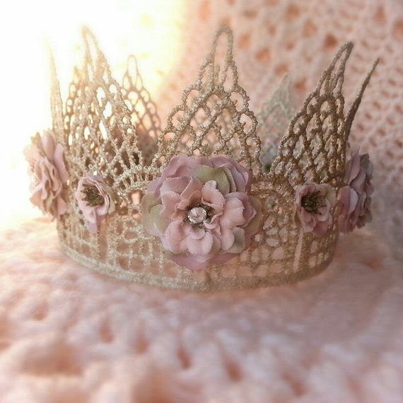 Gold Lace Flower Crown - Princess Crown - Newborn Baby Photo Prop Dainty Crown - Sleeping Prop - Infant Tiara - Dusty Rose - Crystal on Etsy, $22.00