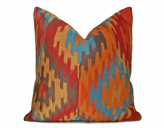 Southwestern Pillows Orange Blue Pillow Aztec Pillows Cushion