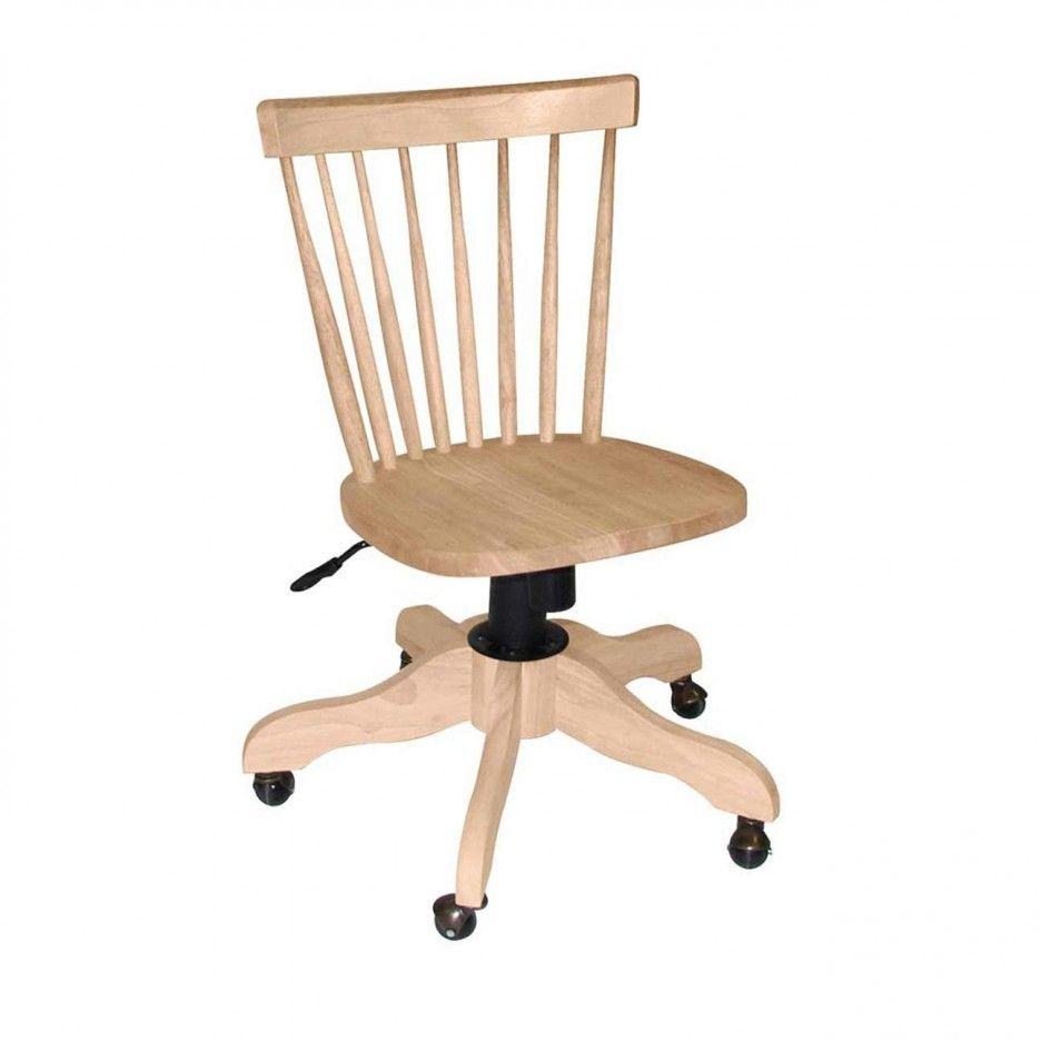 Furniture Inspiring Wood Desk Chairs Unfinished Light Swivel Slat Back Chair Featuring Adjule Seating Height Black Wooden