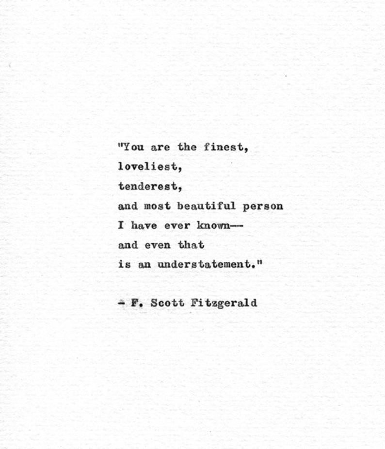 F. Scott Fitzgerald Typewriter Quote 'You are the