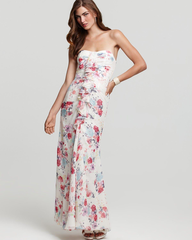 A Fun Alternative Wedding Dress Jill Stuart Ruffle Fl Strapless Gown