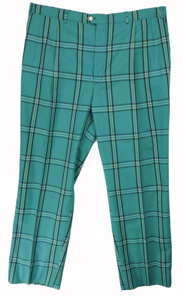 243813b2f Details about Vintage 70s Green Teal Turquoise Plaid Disco Ugly Mens ...