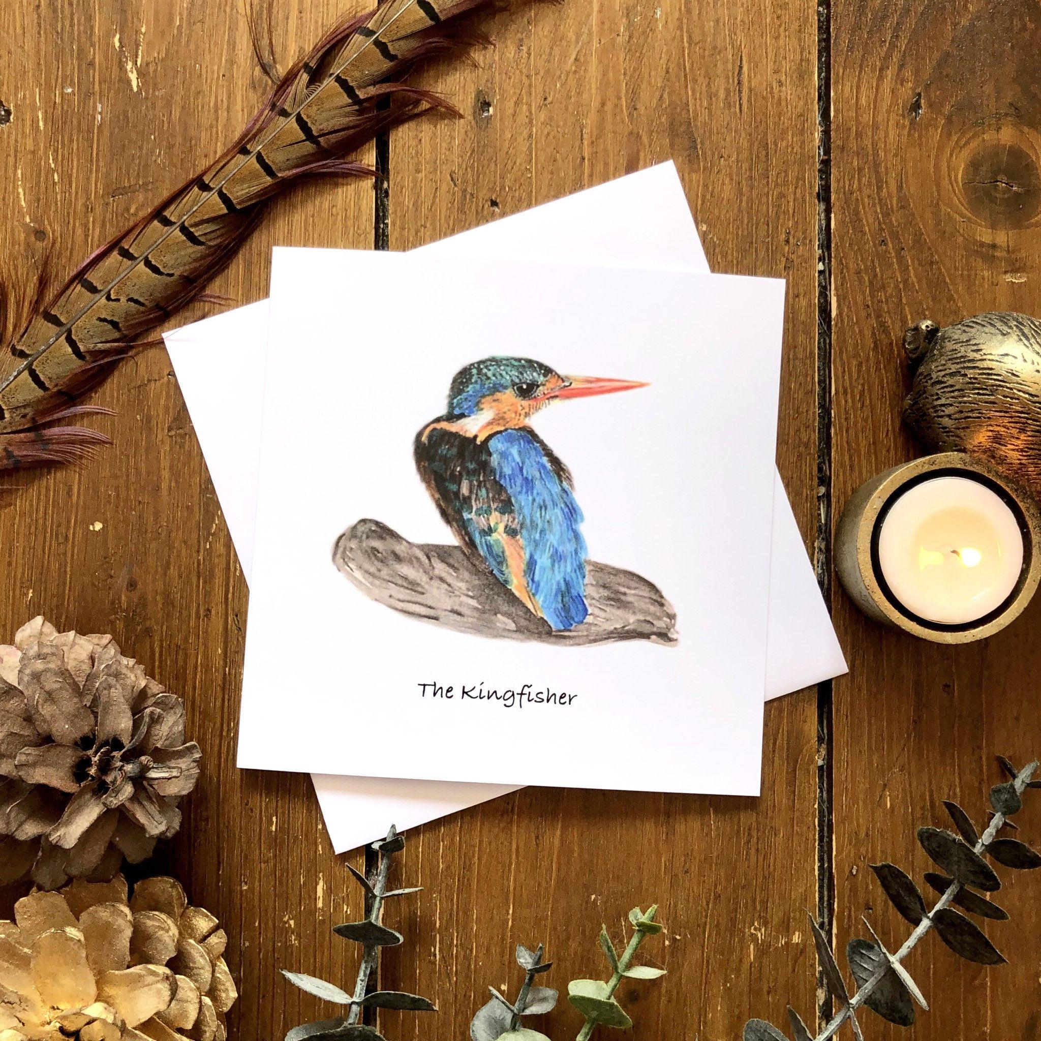 Kingfisher Greeting Card Blank Inside Wildlife Card British Etsy Card Art Nature Card Cards