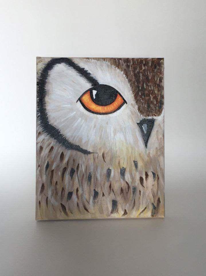 Beautiful Acrylic Painted Owl On 8x10 Canvas Painted By Ariel Acrylic Owl Canvasart Owl Canvas Painting Barn Painting Bird Painting Acrylic