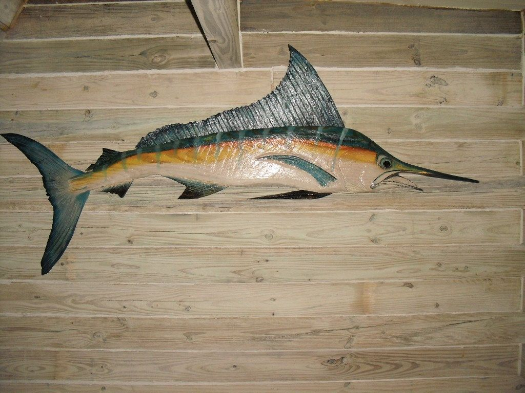 Blue marlin foot chainsaw wood carving nautical trophy