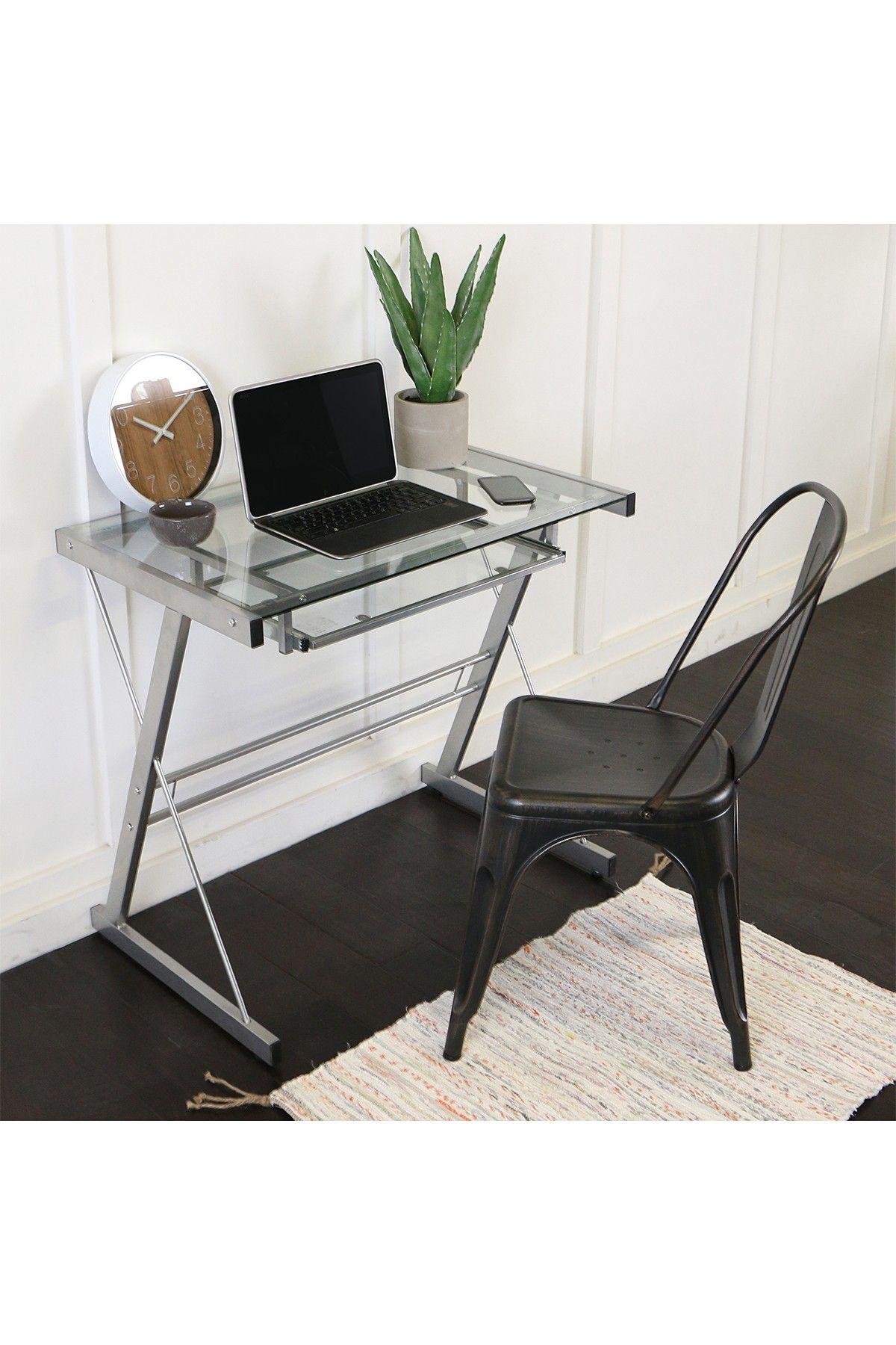 Walker Edison Furniture pany Silver Home fice Glass Metal