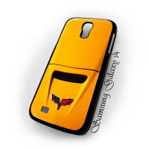 Yellow Corvette top view with Logo Samsung Galaxy S4 i9500 Case