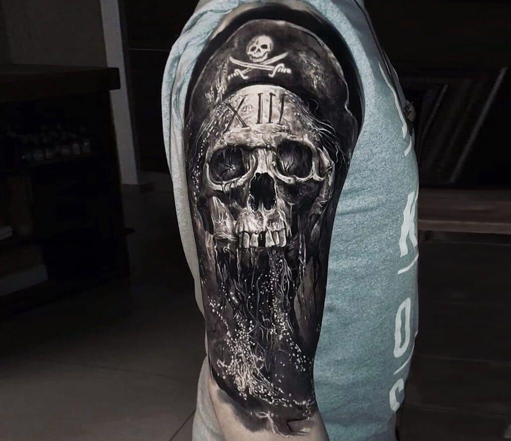 Photo Pirate Skull Tattoo By Eliot Kohek Photo 28928 Pirate Skull Tattoos Pirate Tattoo Pirate Tattoo Sleeve