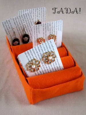 Jewelry tray from tissue box and toilet paper rolls from Blah to