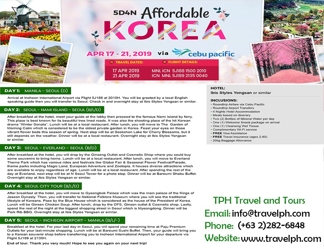 5D4N KOREA (with AIRFARE) minimum of 2 persons to travel For