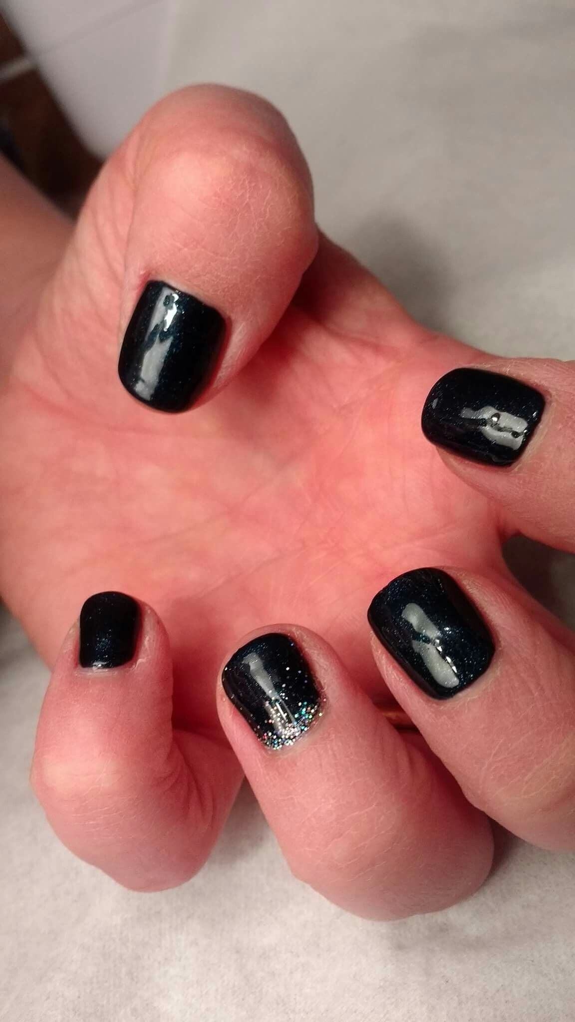 CND Shellac - Midnight Swim over Black Pool with holographic glitter ...