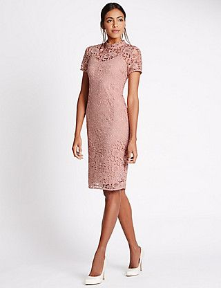 Floral Lace Short Sleeve Shift Dress | M&S