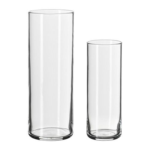 ikea cylinder vas set om 2 kan staplas i varandra f r. Black Bedroom Furniture Sets. Home Design Ideas