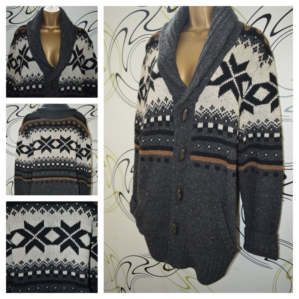 179daddaa GORGEOUS TK MAXX FAIRISLE CARDIGAN JACKET KNIT GREY BLACK BROWN CHUNKY SIZE  LGE  fashion  clothing  shoes  accessories  womensclothing  sweaters (ebay  link)