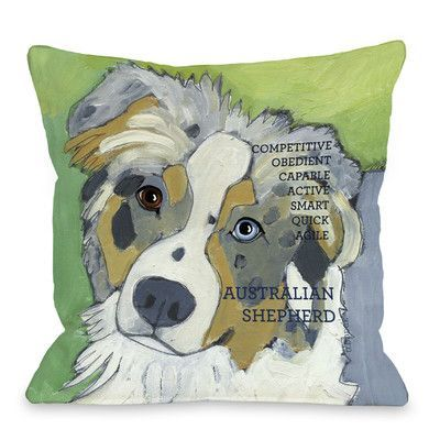 Winston Porter Kaelan Australian Sheep Dog Throw Pillow Australian Sheep Dogs Dog Pillow Dog Throw