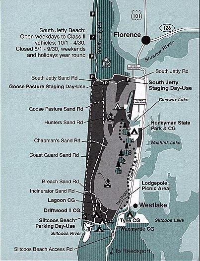 Florence Map Oregon Dunes National Recreation Area | Oregon ...