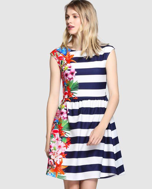 d27da3381 Vestido de mujer Fórmula Joven con rayas y flores