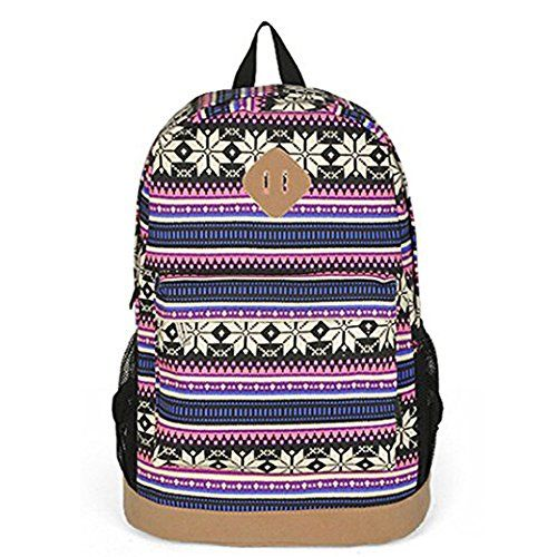 b412190facd3 Unisex Tribal Boho Style Flower Print Canvas Backpack School College ...