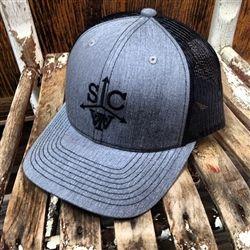Southern Charm Tw Cattle Brand Logo Trucker Hat Grey Black