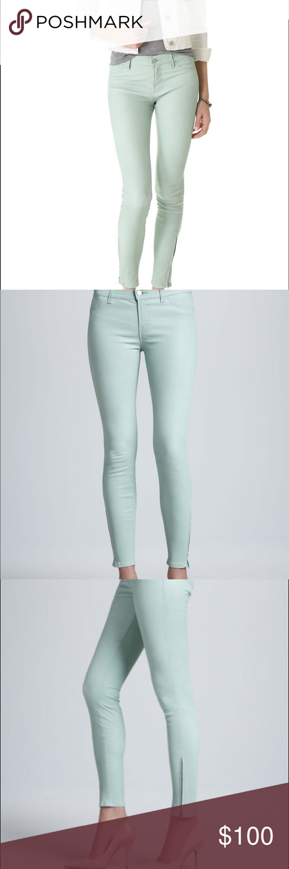J BRAND mint lamb leather super skinny pants Refined luxury couture by J Brand, these exquisite leather pants and pastel mint hue are the it item! The sleek leather, the slim silhouette, the sexy fit, the cool ankle zipper and a comfy mid rise cut make them so special. With easy-going silk blouse and sandals for fresh luxurious look. 100% French lamb leather. True to size. Professional leather cleaning. Slim fit. Ankle zipper. J Brand Pants Skinny