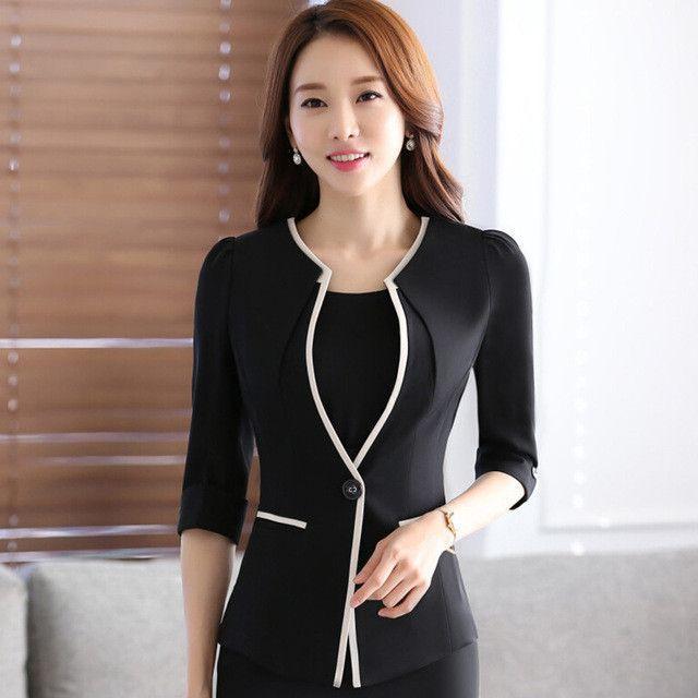 2231ffaeb21 Female career fashion half sleeve women blazer New OL plus size formal slim  jackets office ladies plus size work wear uniform