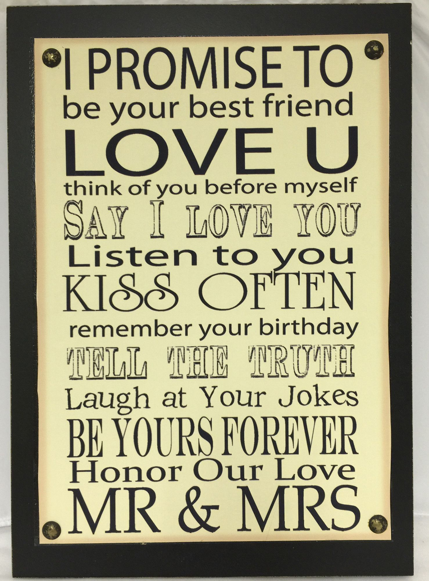 I Promise to Love U Sign Wall Decor | ARTS And | Pinterest | Wall ...
