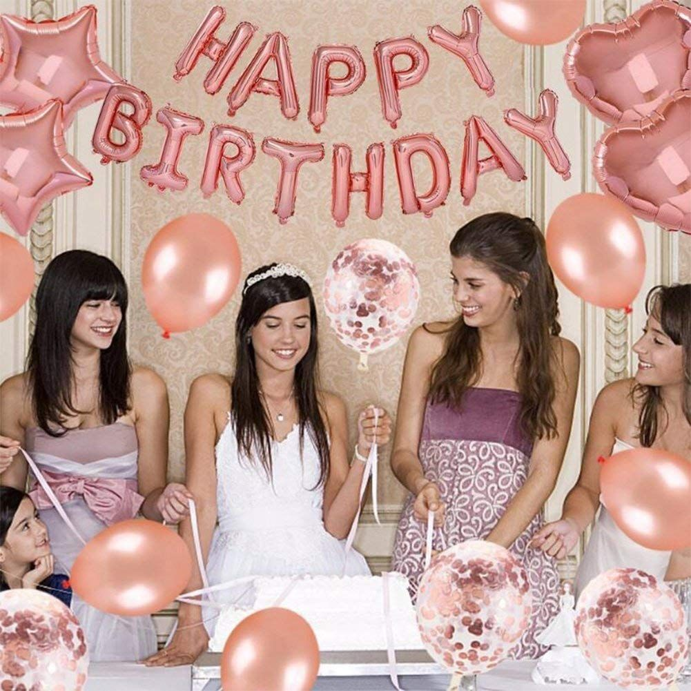 Weimi 30th Birthday Decorations Rose Gold For Women Self Inflating
