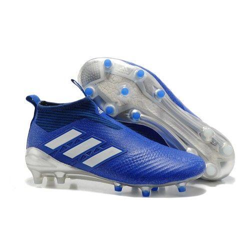 Adidas Ace 17 Purecontrol Fg Fodboldstovler Bla Hvid Solv