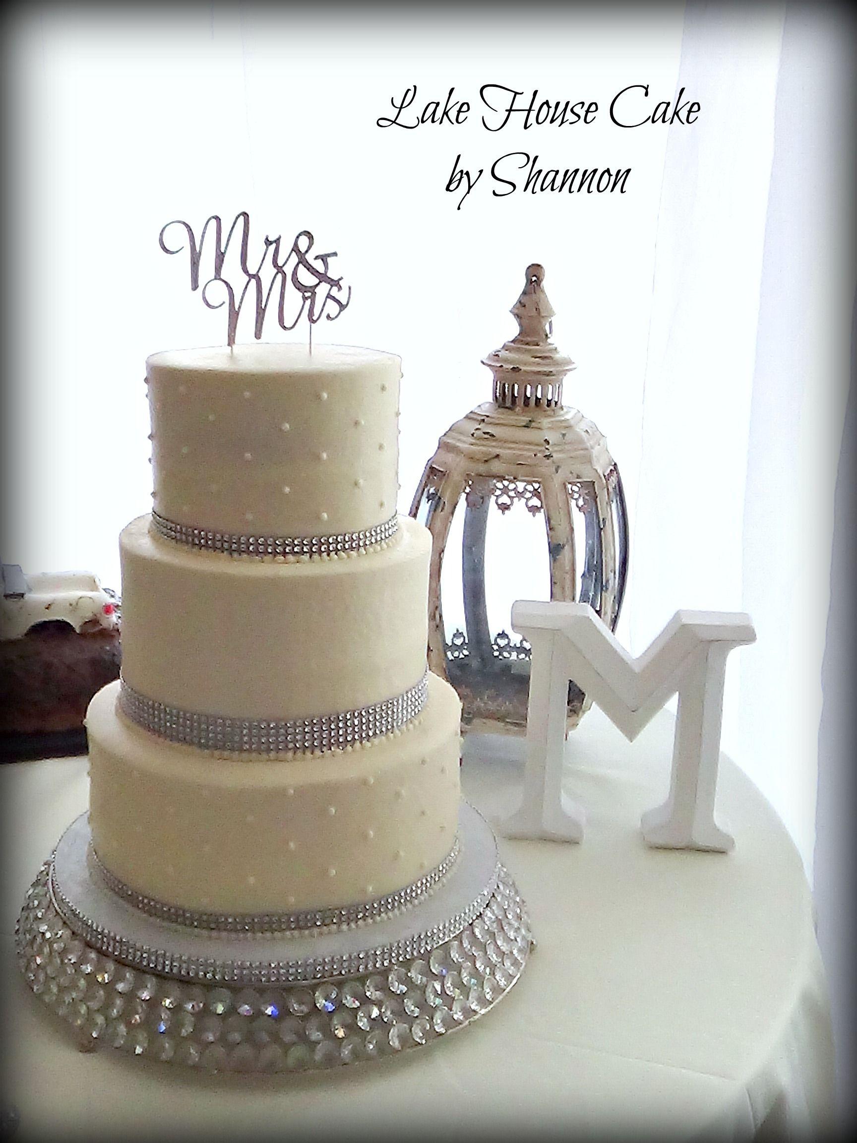Elegant Wedding Cake, Rhinestone Ribbon, Bling Ribbon, White, 3 ...