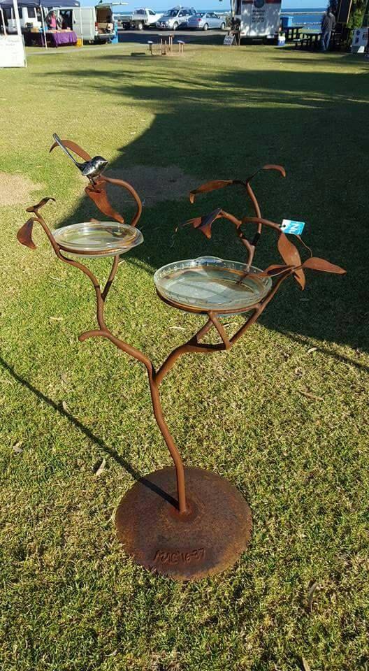 Handcrafted Rustic Birdbath Bird Bath Lawn Art Metal Garden Art