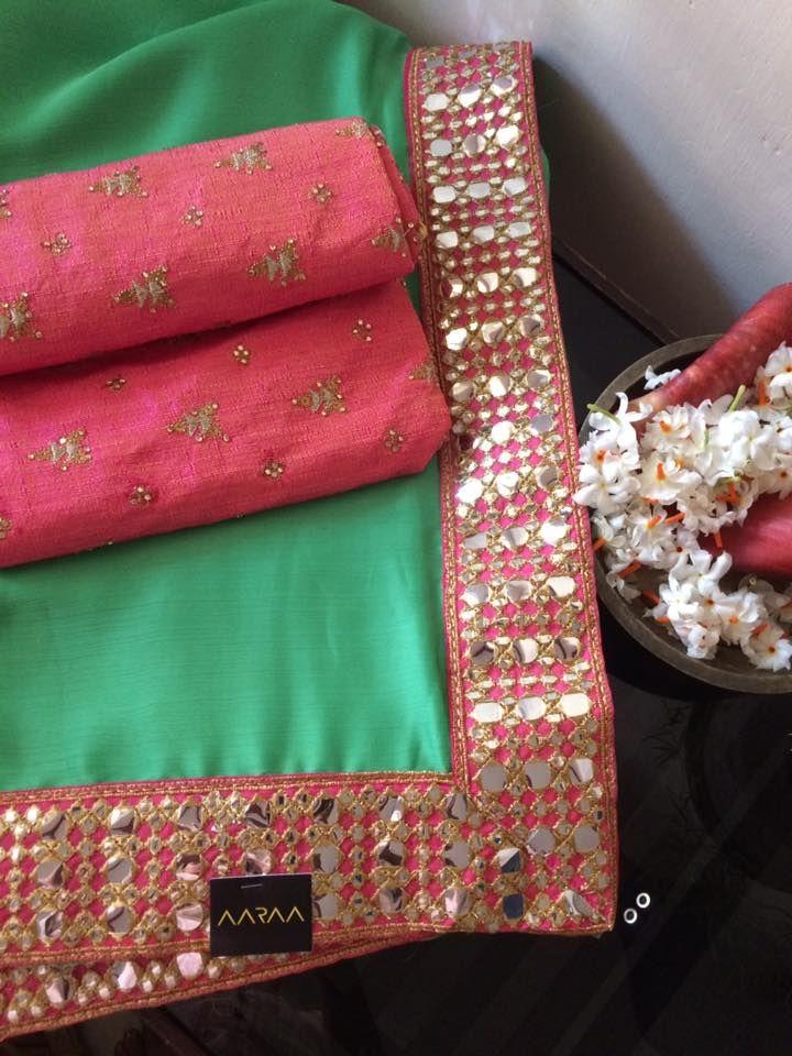 https://www.facebook.com/AARAAbyUmaAnand #AARAA #saree #designersaree #ethnic #chiffon #rawsilk #pastelgreen #mirrorwork