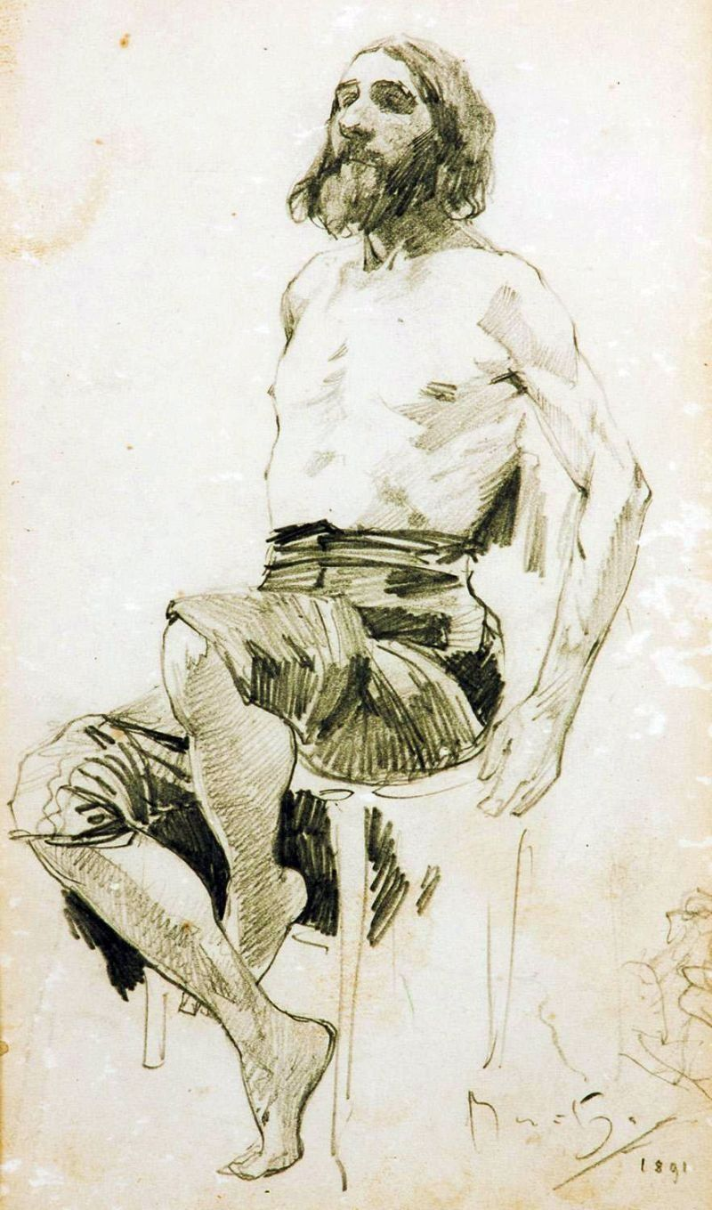 Study of a Seated Man by Alfons Mucha (1891)
