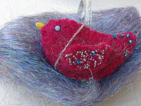 Sparkle the Hand Felted Bird Ornament by ForestGlenCrossing