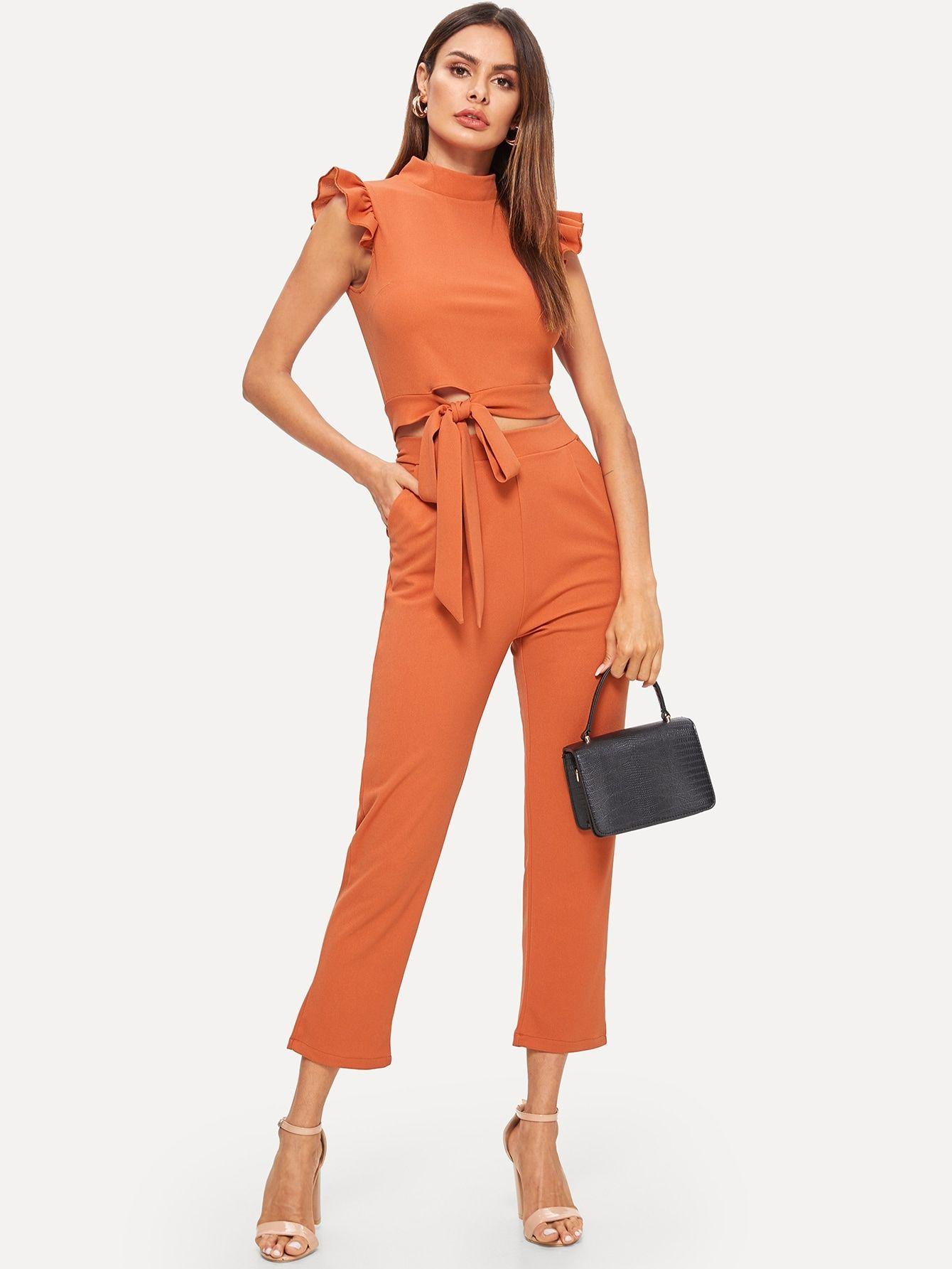 Women's Clothing Shein Flounce Foldover Top And Wide Leg Pants Set Women Summer Glamorous Highstr