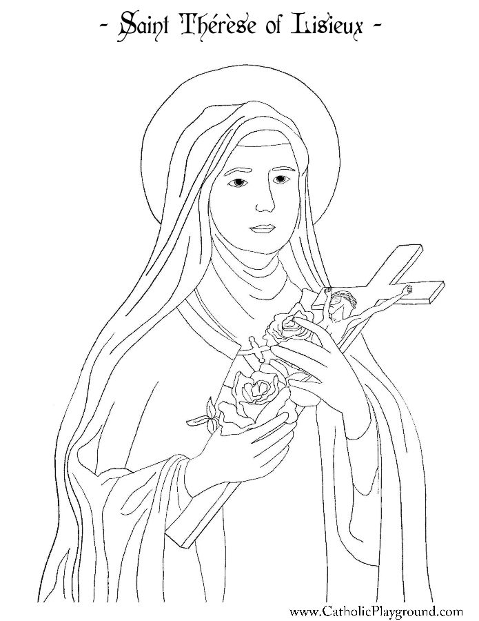 saint therese of lisieux coloring page catholic playground