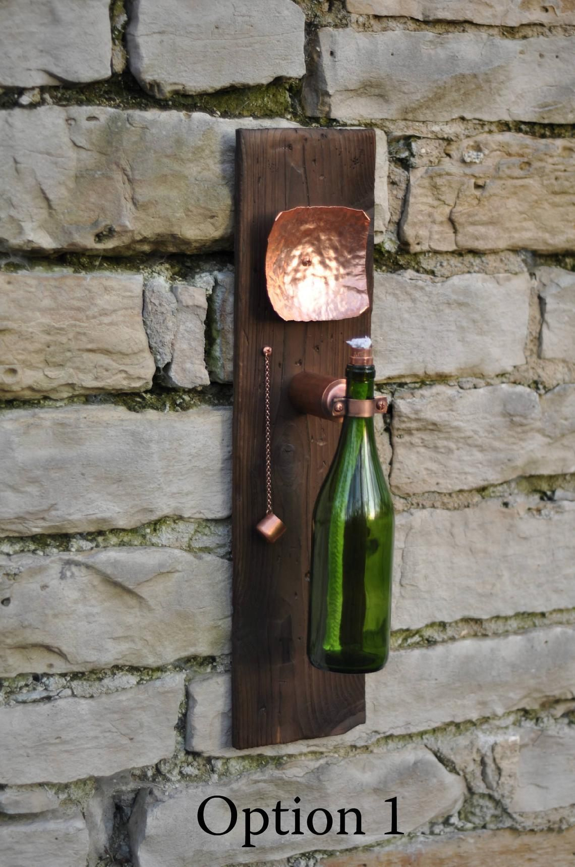 Modern Industrial Wine Bottle Tiki Torch Oil Lamp with ...