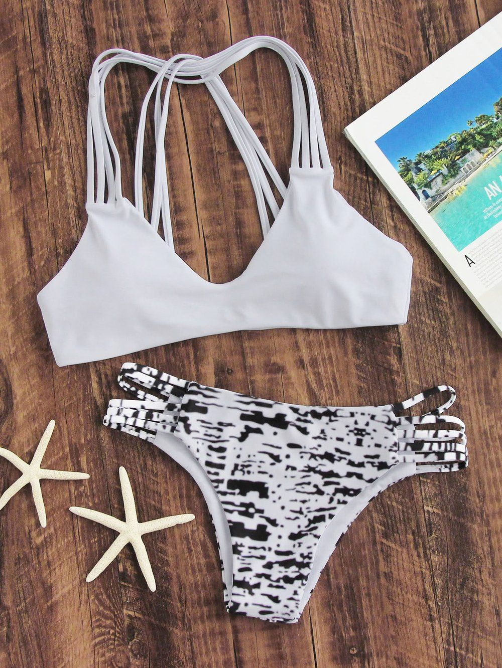 Color printing bu - Tie Dye Ladder Cutout Strappy Bikini Set Material Polyester Color White Top Push