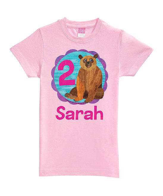 Pink Brown Bear Personalized Age Fitted Tee - Toddler & Girls
