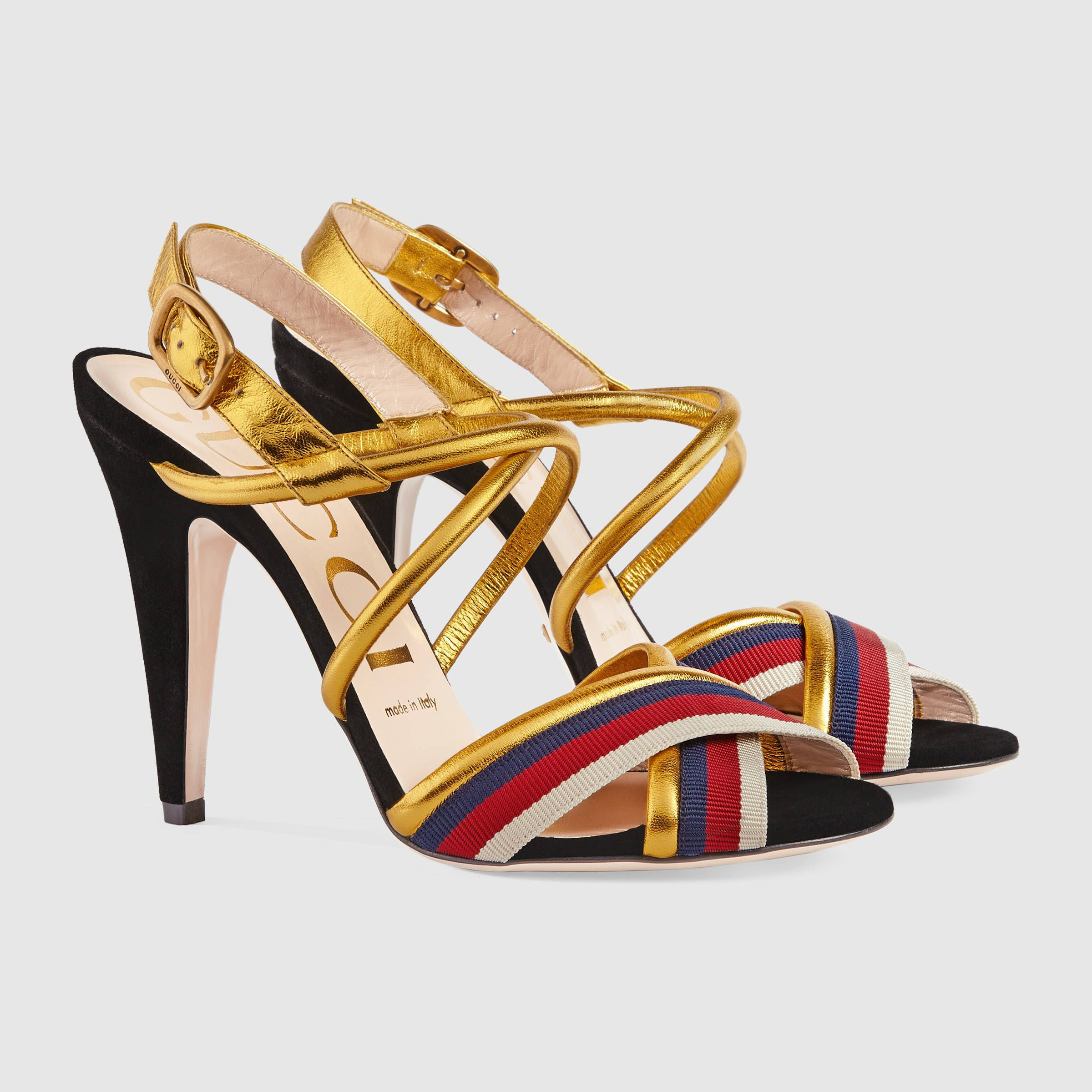 61dd92f4924 Gucci Sylvie metallic leather sandal £530
