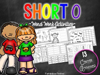 Short oShort o unit: This short o word work unit has 13 fun-filled activities that are ideal for independent work or center work. Included in this unit:Page 1: Title PagePages 2-3: Write the word under the correct picturePages 4-5: Sorting short o picturesPages 6-7: Sorting short o wordsPages 8-11: Write the room pictures/recording sheetPages 12-13: Choose the correct word to match the picturePages 14-15: Color the short o words (with and without short o word listed under each picture)Pages…