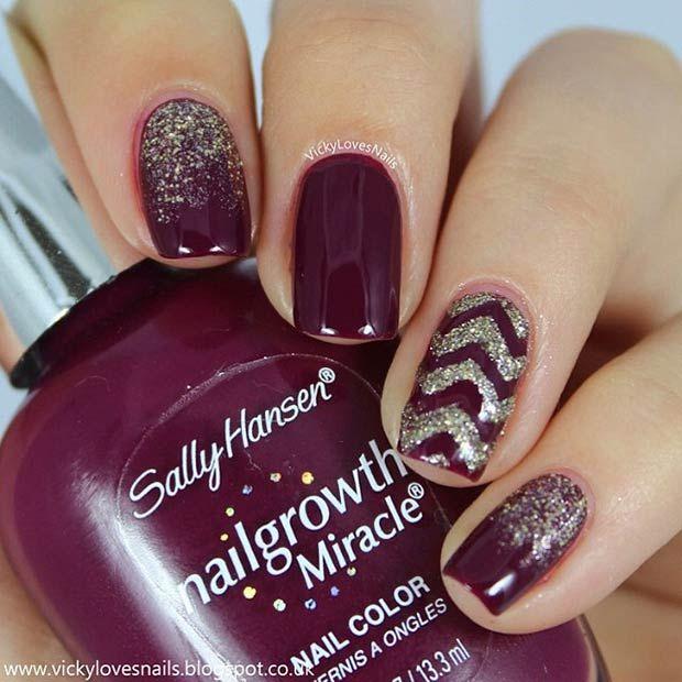Dark Purple Nail Design I like the color and design - 35 Cool Nail Designs To Try This Fall Dark Purple Nails, Purple