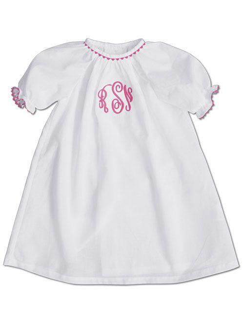 dae91b95eeba Kelly's Kids White Knit Pink Ric Rac Day Gown. To order go to  www.kellyskids.com/laurajones.