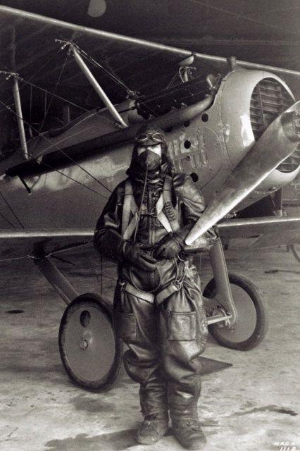 October 17, 1925: NACA test pilot Paul King, wearing a fur lined