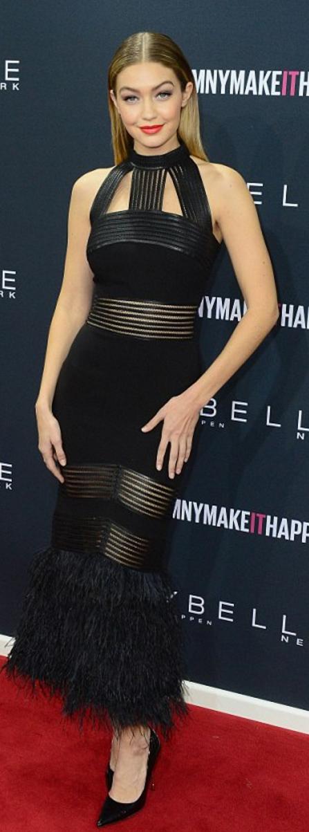 Gigi Hadid: Dress – Sally Lapointe Shoes – Kurt Geiger